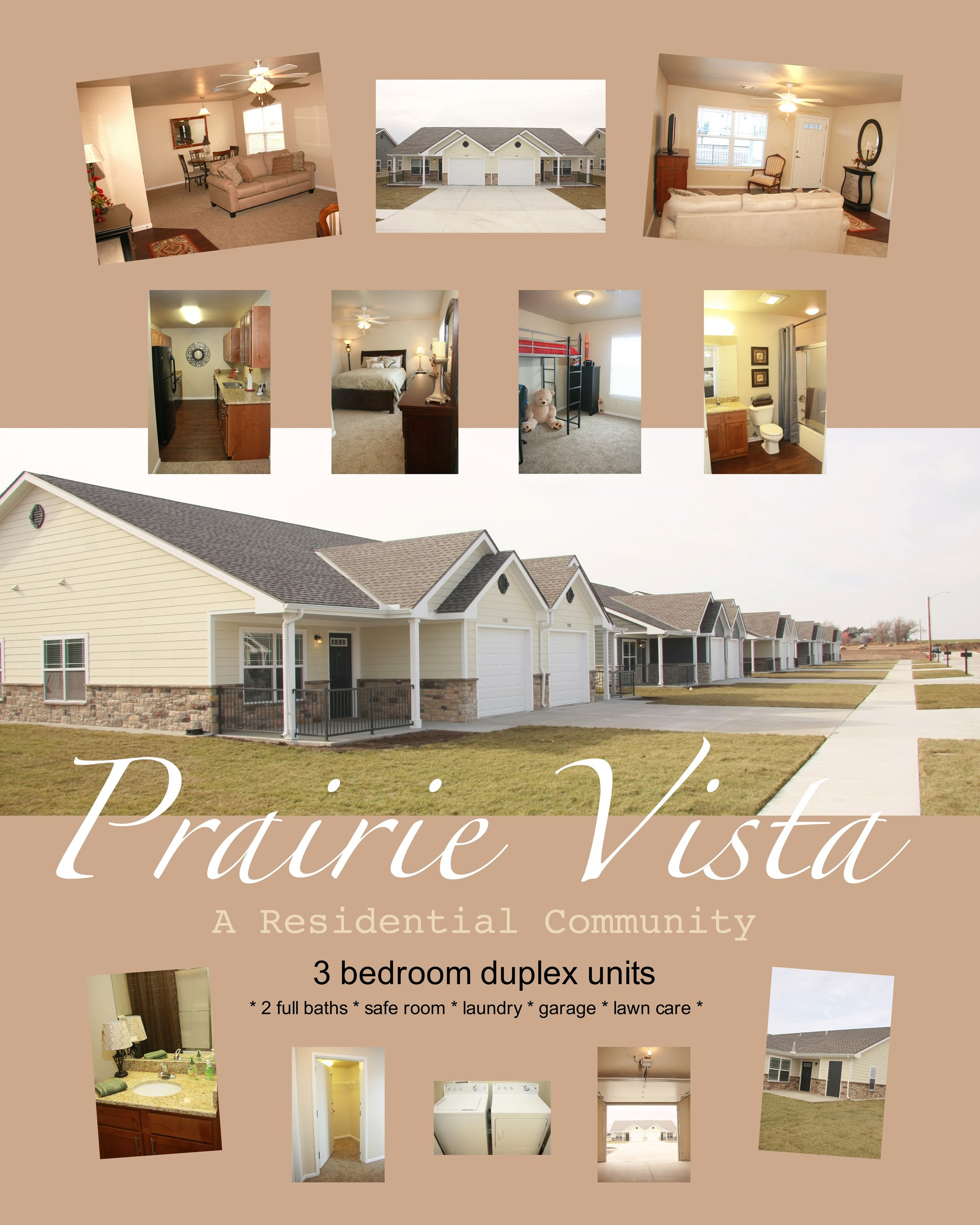 A collage of images of the Prairie Vista community of homes.