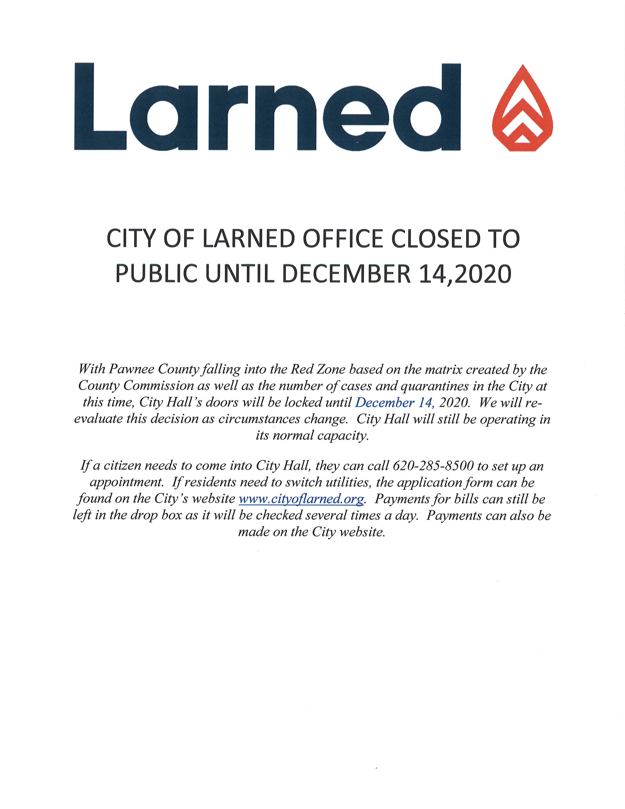 Office closing 12-14-2020