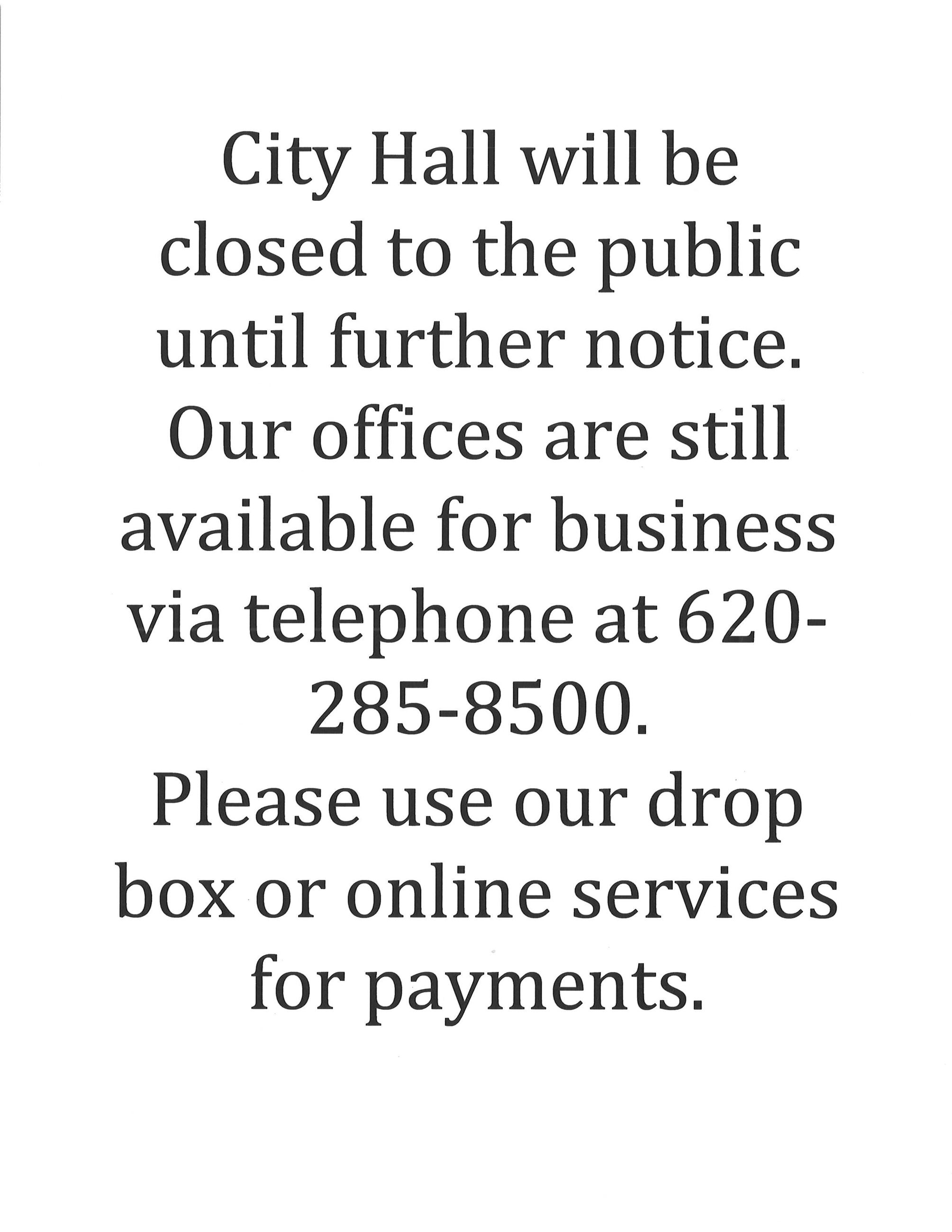 City office closed until further notice